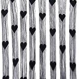 Borla Cortina de Puerta Ventana De Habitación De Cadena con Dibujo Corazón - Negro