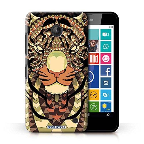 Coque en plastique pour Nokia Lumia 635 Collection Motif Animaux Aztec - Loup-Rouge Tigre-Sépia