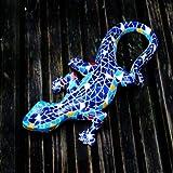 A Pair Of Mosaic Coloured Resin Lizard Garden Ornaments Wall Mountable