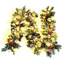 Warmiehomy Christmas Garland 2.7M Fireplace Stair Decoration Illuminated Wreath with 50 LED lights Decors for Xmas Festival Tree Display