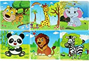 Funpa 6 Sets Cartoon Animal Jigsaw Puzzles for Toddler Wooden Puzzle Early Educational