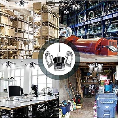Luci Garage 60W, Illuminazione del Garage con E26/E27 6000Lumens, Deformabile Plafoniera per Garage, CRI 85, 6000K, 3 Pannelli Regolabili, Luce Seminterrato, Luci da officina, lampada da lavoro