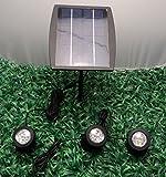 GOESWELL Wandleuchte Solar Strahler Weiß Garten Wasserdicht IP68, Sicherheitsleuchte, geschliffene-Wegleuchten, Lichter, Solar Fahnenmast, Querformat, 18 LEDs,
