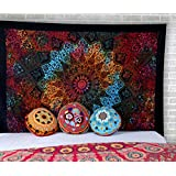 RajRang Bohemian Psychedelic Cotton Star Tapestry Indian Mandala Single Bedsheet Wall Decor (Multicolour)