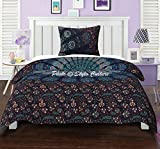 #3: Twin Cotton Mandala Duvet Cover Set Printed Peacock Eye Floral Blue Quilt Cover By Stylo Culture