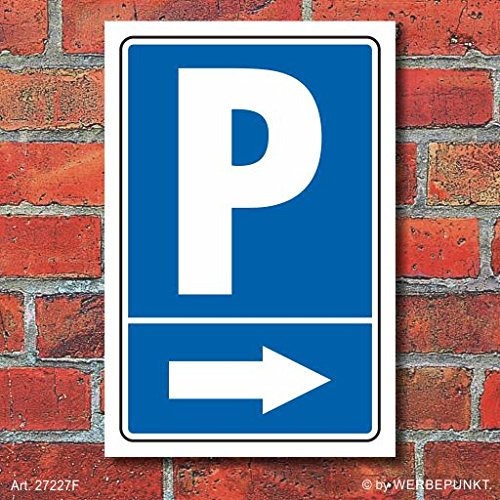 """Schild \""""Parkplatz mit Pfeil, rechts\"""", 300 x 200 mm"""
