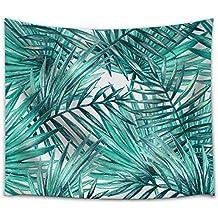 Pareo estampado con hojas tropicales en tejido ligero de poliéster útil como tapiz decorativo, colcha