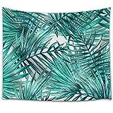 Pareo estampado con hojas tropicales en tejido ligero de poliéster útil como tapiz decorativo,...