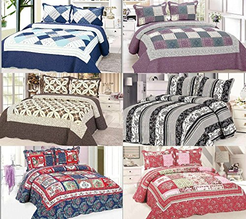 luxury-designers-bedspreads-quilted-patchwork-100-cotton-bedspreads-2-matching-pillow-cases-free-bed
