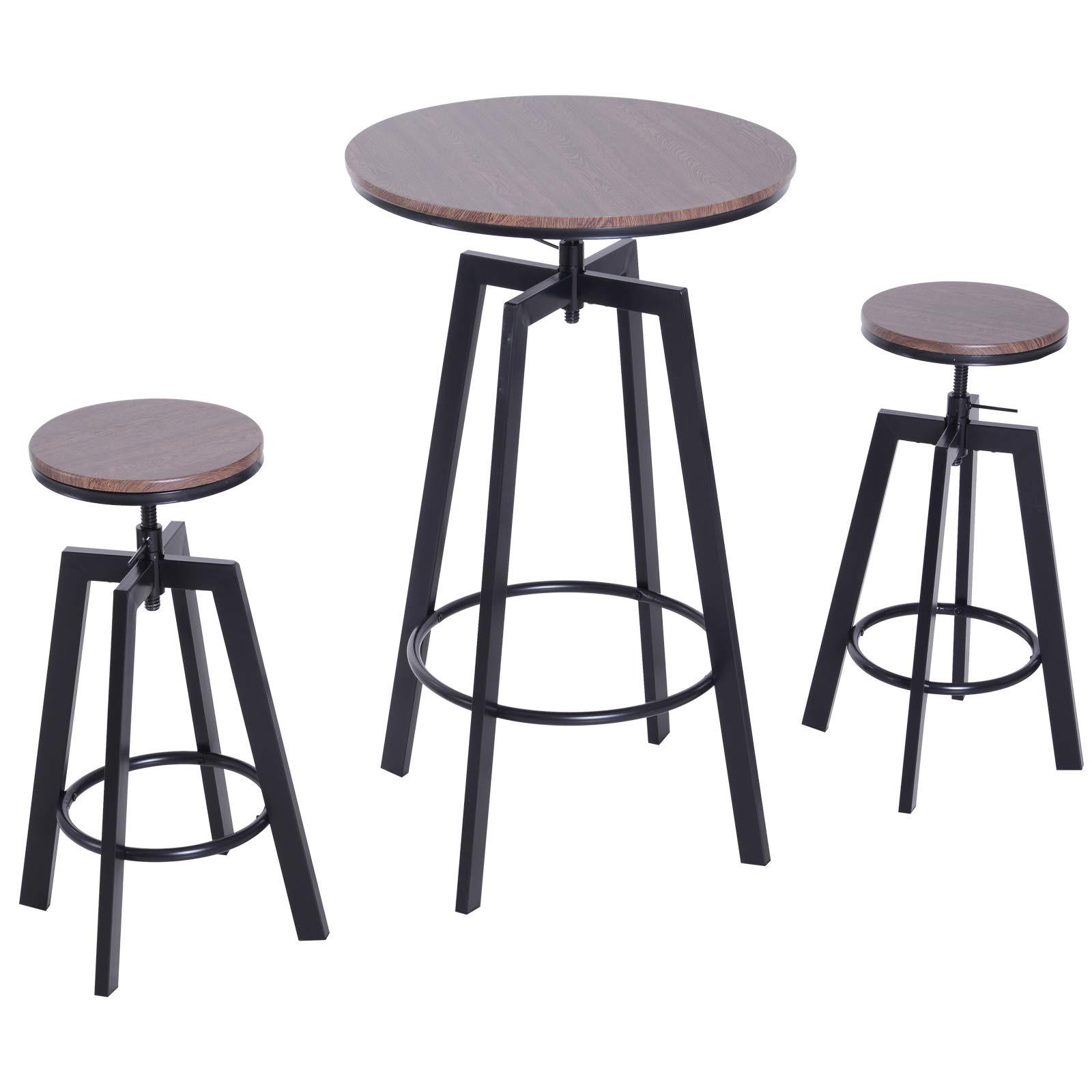 HOMCOM 3-teilige Essgruppe Sitzgruppe Esstisch Bistrotisch Bartisch Holztisch Holz + Metall dunkle Naturholzoptik + Schwarz mit 1 Tisch + 2 Hockern 1