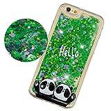 Mosoris Coque iPhone 6S Plus Glitter Liquide Cover Mode 3D TPU Etui iPhone 6 Plus Transparent Souple Silicone Etui Housse Bling Paillettes Flowing Sand Case Antichoc pour iPhone 6 / 6S Plus, Panda