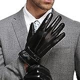 FLY HAWK Winter Handschuhe aus Echtem Leder Herren Lederhandschuhe für Touch Screen geeignet, warm gefütterte klassische Handschuhe mit Druckknopfverschluss Geschenk-Verpackung, Schwarz/Braun