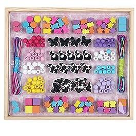 B&Julian Perline di Legno creativi Set di Perle 180 Pezzi colorato Bambini rattoppare