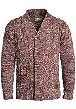 !Solid Philotus Herren Strickjacke Cardigan Grobstrick mit V-Ausschnitt Samt Knopfleiste aus 100% Baumwolle Meliert, Größe:L, Farbe:Wine Red Melange (8985)