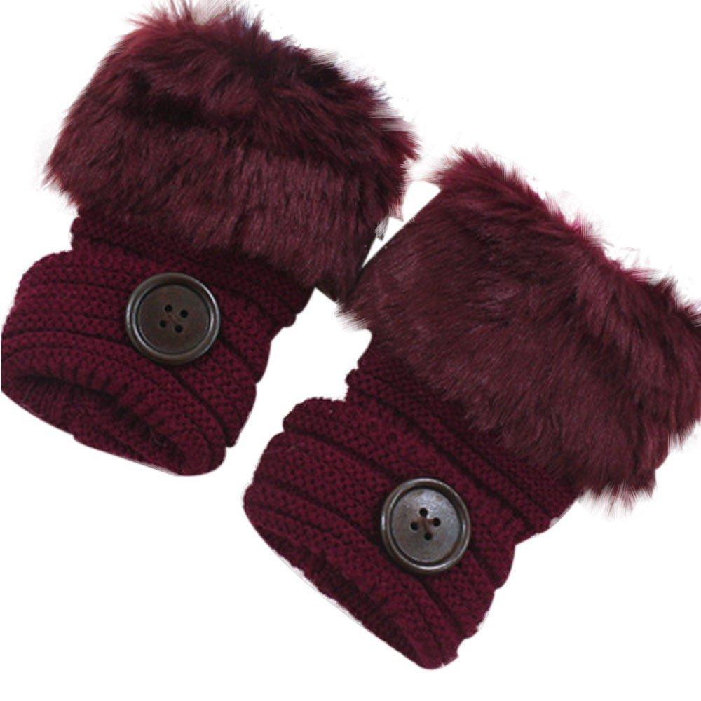 DOLDOA Womens Ladies Warm Winter Gloves Knitted Faux Rabbit Fur Wrist Fingerless Mittens