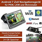 17,8cm 7 Zoll Android 4.4,PKW,GPS,Navigationsgerät,Navigation,WIFI,Wohnmobil, Neuste Europa Karten sowie Radarwarner,Tablet PC,Internet,Wohnmobil,LKW,Auto,16GB Speicher, HD Display,AV-IN,Bluetooth,Radarwarner,Funk Rückfahrkamera, 24 GB Speicher