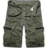 TRGPSG Men's Casual Cotton Twill Lightweight Cargo Shorts with Zipper Pockets, Relaxed Fit Outdoor Cargo Shorts with 8 Pocket
