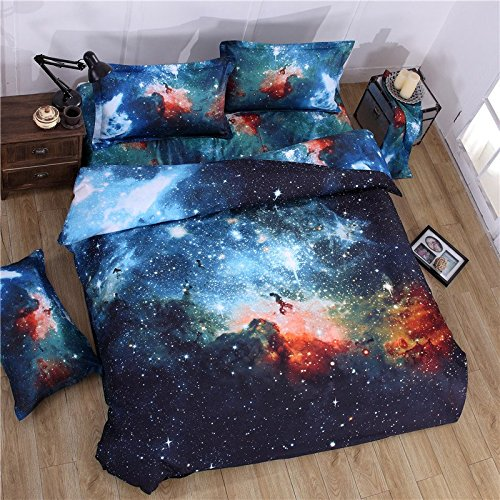 FADFAY 3D-Bettwäsche Geheimnisvolles Galaxien-Design Bettwäsche-Sets, Einzel-/Doppelbett-Set, Polyester, D, Einzelbett