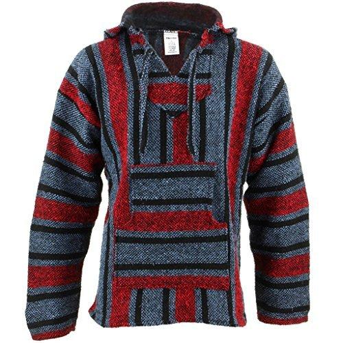 Sudadera estilo hippie mexicano, color rojo y azul, con capucha azul azul Medium