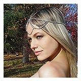 1 Unids Moda Mujer Bohemio Cabeza de Metal Cadena Baile de la frente Joyas para el cabello, Plata
