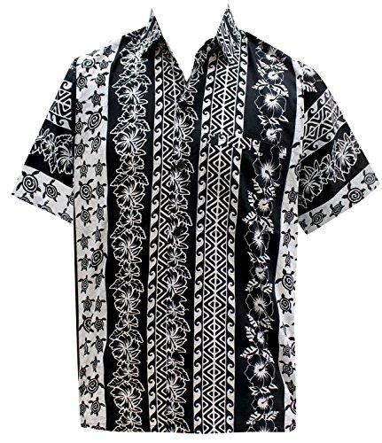 La Leela Lager Lager Hibiskus Bambus Blatt Lässig Strand Tragen Lager Hawaii-Strand Aloha Herren-Hawaiihemd 4XL Schwarz (Bambus Hawaii-shirt)