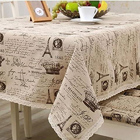 Vollter copertura tavolo Torre Eiffel dell'annata e Corona modello Lace della copertura del panno tovaglia di lino cotone - Eiffel Lino