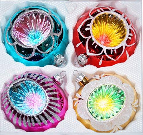 """4 tlg. Glas-Weihnachtskugeln Set 10cm Ø in """"Hochglanz Vintage Style"""" Christbaumkugeln - Weihnachtsschmuck-Christbaumschmuck 10cm Durchmesser"""