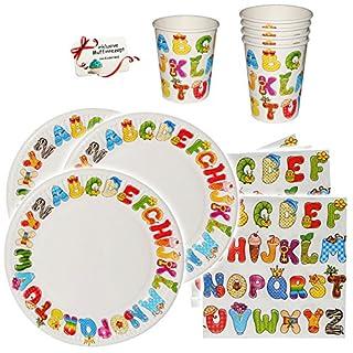alles-meine.de GmbH 16 TLG. Set _ Pappbecher & Pappteller -  ABC / Alphabet - Buchstaben  - Becher zum Schulanfang / Geburtstag - Kindergeburtstag & Schuleinführung - Partygesc..