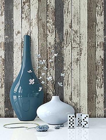 Tapete Vliestapete Holz Muster in Braun Creme Blau , schöne edle Tapete im Antikholz Design , moderne 3D Optik für Wohnzimmer, Schlafzimmer oder Küche inkl. Newroom Tapezier Ratgeber mit super Tipps!