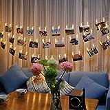 Skitic 1.5M 10er LED Foto Clip Lichterkette Dekoratives String Lichts Leuchten Batteriebetriebene für Bilder Fotos Karten Hängen, Valentinstag, Weihnachten, Geburtstag, Party, Hochzeit - Warmweiß