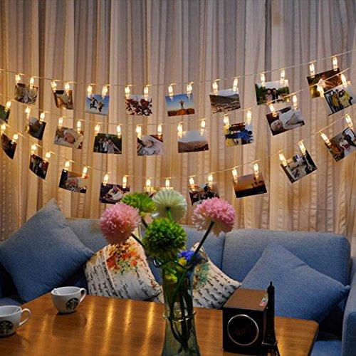 Skitic 1.5M 10er LED Foto Clip Lichterkette Dekoratives String Lichts Leuchten Batteriebetriebene für Bilder Fotos Karten Hängen, Valentinstag, Weihnachten, Geburtstag, Party, Hochzeit - Warmweiß (Garage Tür, Dekorative Fenster)