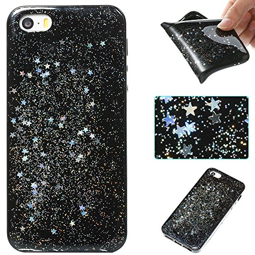 Custodia iphone SE/5/5s, iphone SE/5/5s Cover, iphone SE/5/5s Custodia Silicone,Cozy Hut Case Cover per iphone SE/5/5s, Shiny Sparkly Bling Bling Glitter Conchiglia Caso Guscio Sottile TPU Silicone Ge Cielo dargento