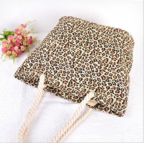 Multifunzionale Leopard Vacanze Morbida Portatile Casual Borsa Da Spiaggia Delle Donne Leopard