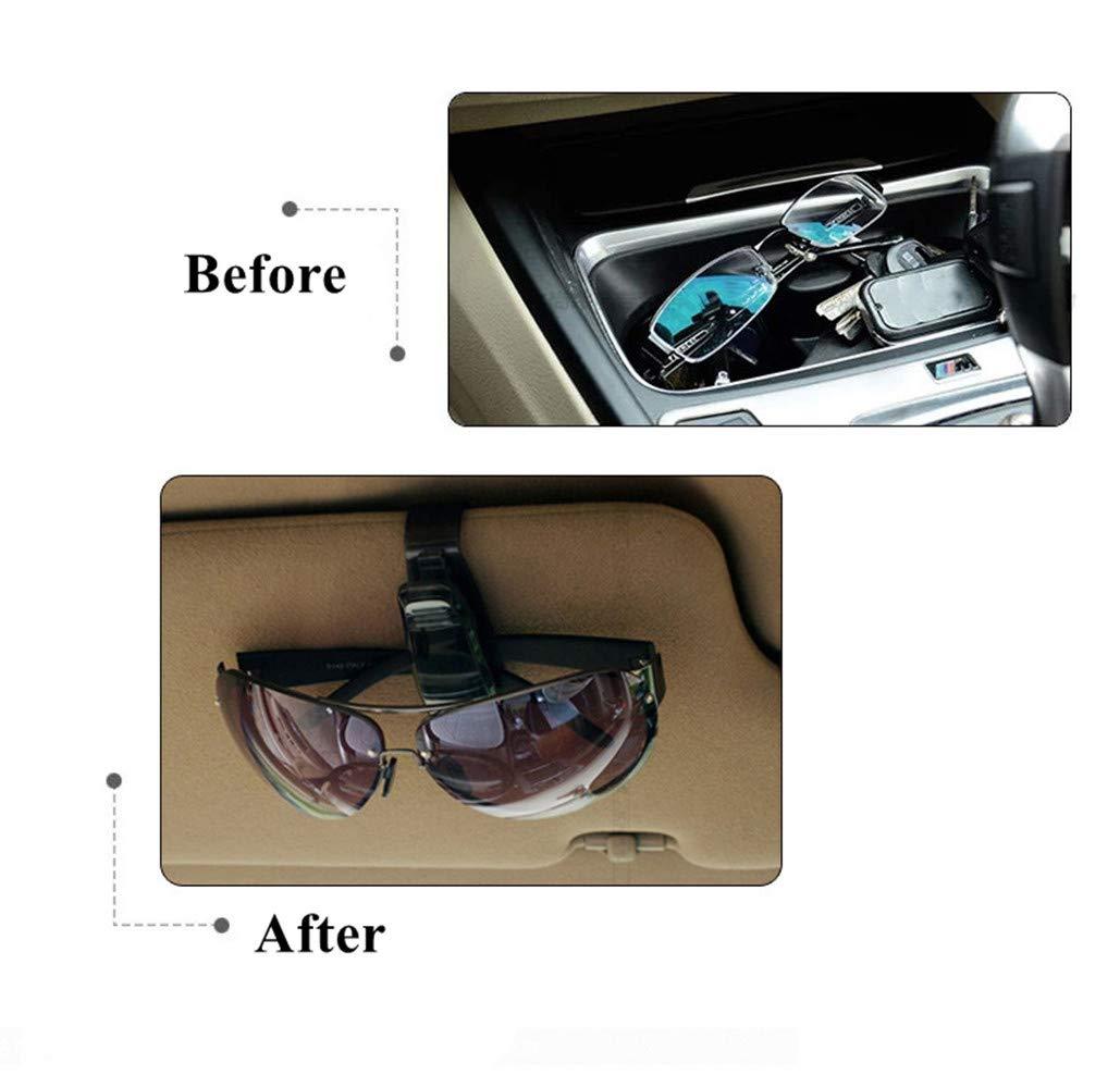 con clip Amison supporto per occhiali con fessura per biglietti set da 2 portaocchiali da appendere al parasole dellauto