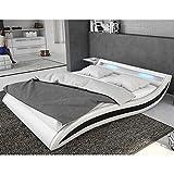 Polster-Bett 140x200 cm weiß-schwarz aus Kunstleder mit blauer LED-Beleuchtung | Accentox | Das Kunst-Leder-Bett ist ein edles Designer-Bett | Doppel-Bett 140 cm x 200 cm mit Lattenrost in Leder-Optik, Made in EU