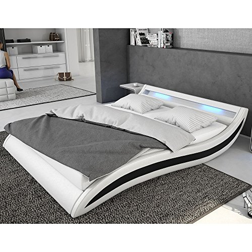 Polster-Bett 180x200 cm weiß-schwarz aus Kunstleder mit blauer LED-Beleuchtung | Accentox | Das Kunst-Leder-Bett ist ein edles Designer-Bett | Doppel-Bett 180 cm x 200 cm mit Lattenrost in Leder-Optik, Made in EU