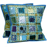 2 Blue Embroidery Sequin Patchwork Indian Sari Throw Pillow Cushion Covers