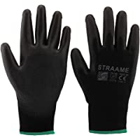 Straame Pack of 12 or 24 Black Safety Work Gloves, Outdoors PU and Nylon Non-Slip Work Handling Gloves, Good Dexterity…