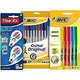 BIC Pack vuelta al cole - Estuche con 10 bolígrafos de colores, 5 marcadores y 2 correctores
