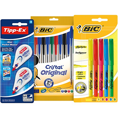 Tipp-Ex Mini Pocket Mouse Correctors, BIC Cristal Original Ball Pens, BIC Highlighter Pens - Assorted Colours, Lot of 1