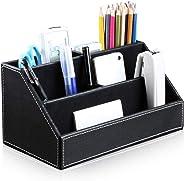 Bargain Crusader Black PU Leather Remote Controller Holder TV Guide CD DVD Controller Organizer Desk Caddy Stationery Organiz