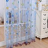 Dibujos animados estrellas tul ligero fibra de poliester inel¨¢stica cortina pantallas, persianas verticales, 100 * 200cm, 1 panel , blue