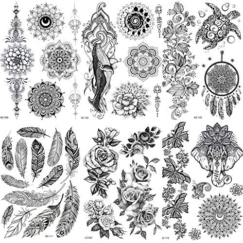 Lijinjin adesivo tatuaggio temporaneo pizzo nero henné autoadesivo del tatuaggio temporaneo gufo mandala impermeabile tatuaggio falso body art donne mehndi braccialetto tatoo pasta 20x15 cm 6pc