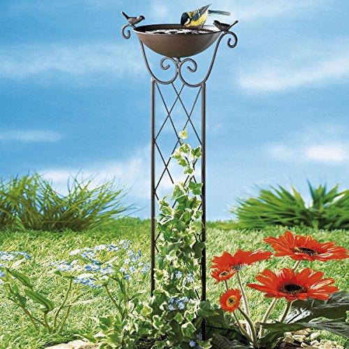Unbekannt Rankhilfe Vogelspaß, Vogelbad, Vogeltränke, Futterstelle, Rankgitter, Gartenstecker, Gartendekoration, Metall, Höhe ca. 82 cm