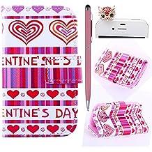 Felfy Love Hearts Patrón PU Cuero Billetera Funda Flip Carcasa Para Samsung Galaxy S3 mini i8190 + 1x Rojo Búho Enchufe del Polvo + 1x Rosa Lápiz Táctil
