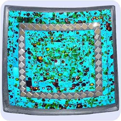 Simandra Mosaikschale Tonschale Glasschale Dekoschale Mosaik Kunsthandwerk Glassteine Deko Quadrat Spiegel mittel Color Blau -