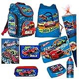 Hot WHEELS CARS AUTOS 9 Teile SCHULRANZEN RANZEN Rucksack TASCHE Tornister Schultüte 85 cm Federmappe Set mit Sticker von kids4shop