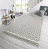 Zala Living Cubic Designer Velours Teppich, Polypropylen, Grau/Creme, 140 x 70 x 0,9 cm