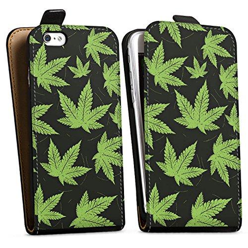 Apple iPhone X Silikon Hülle Case Schutzhülle Hanfblatt Weed Gras Grün Downflip Tasche schwarz