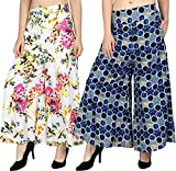 NITIKALI Ladies Printed Poly Crepe Palazzo with Short Style Inner Lining (2 Pcs Combo)